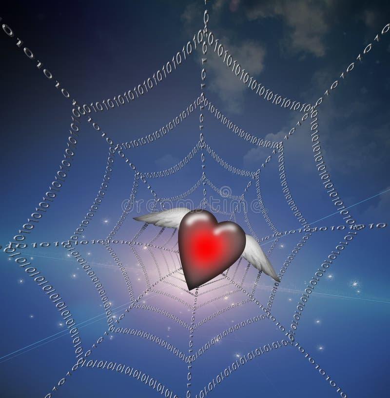 Coeur dans le Web binaire illustration stock