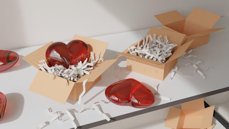 Coeur dans une boîte image stock