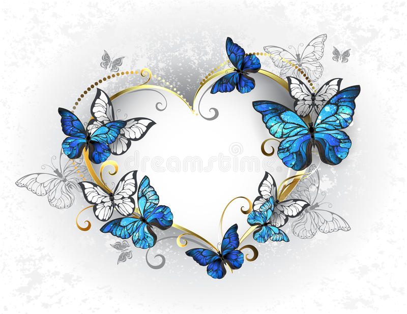 Coeur de bijoux avec le morpho de papillons illustration de vecteur