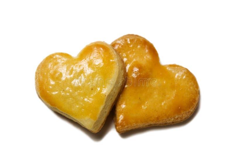 coeur de biscuits d'isolement formé image libre de droits