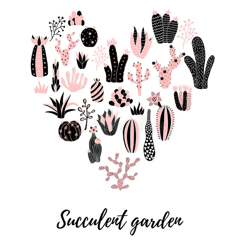 Coeur de cactus illustration libre de droits