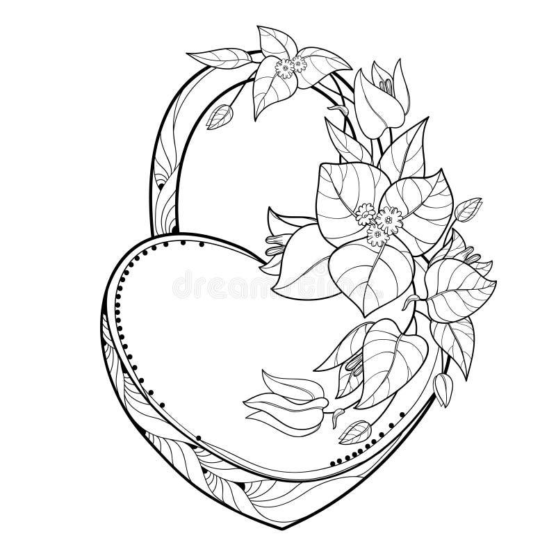 Coeur de cadenas de vecteur avec la fleur de bouganvillée ou de Buganvilla de groupe d'ensemble, la feuille et le bourgeon dans l illustration stock