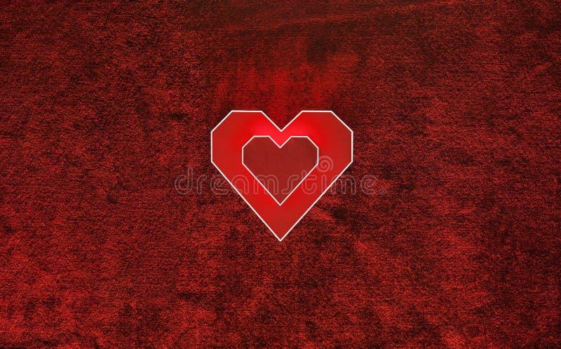 Coeur de carton de deux rouges sur le velours Fond de jour de valentines photos libres de droits