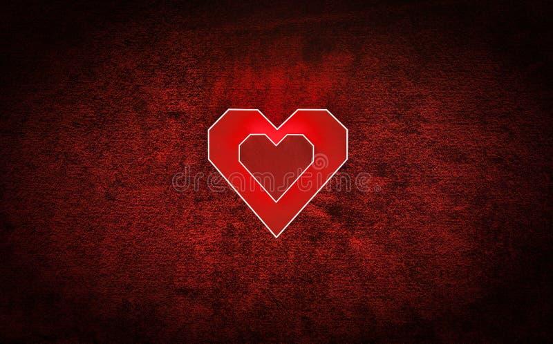 Coeur de carton de deux rouges sur le velours Fond de jour de valentines images libres de droits