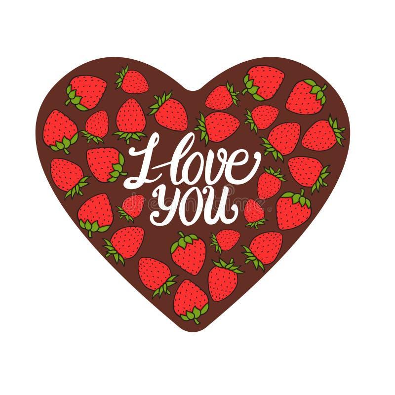 Coeur de chocolat avec la baie rouge douce de fraise Je t'aime marquant avec des lettres Carte de jour de Valentines Illustration illustration de vecteur