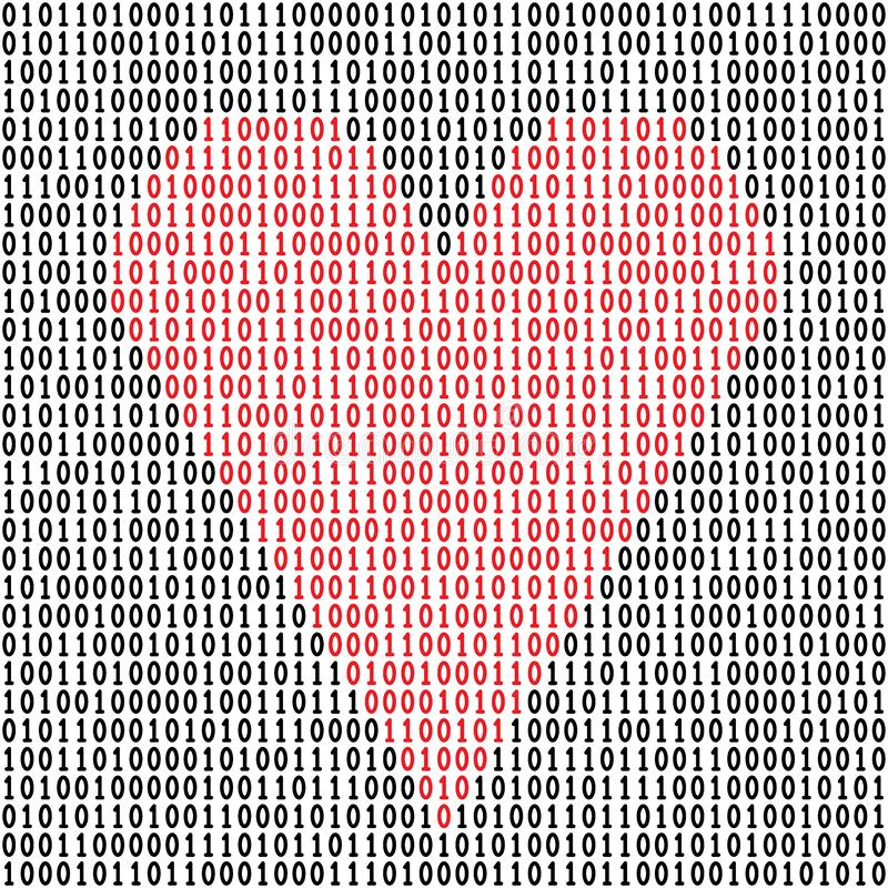 Coeur de code binaire illustration de vecteur