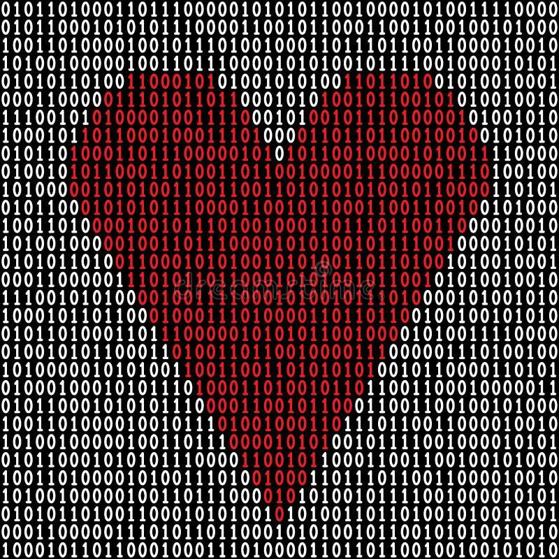 Coeur de code binaire illustration stock