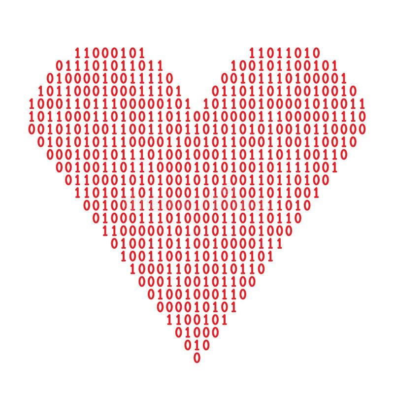 Coeur de code binaire illustration libre de droits