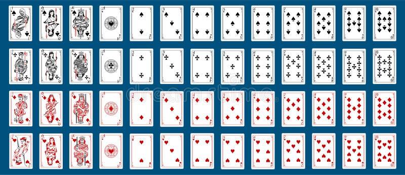 Coeur de collection de paquet de cartes de jeu, pelles, diamant, club, style de pirates de joker illustration stock