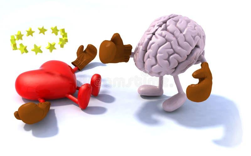 Coeur de combat de cerveau illustration de vecteur