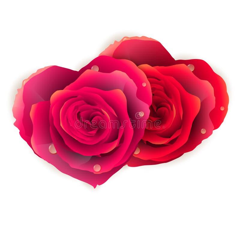 Coeur de couples fait de roses rouges ENV 10 illustration de vecteur