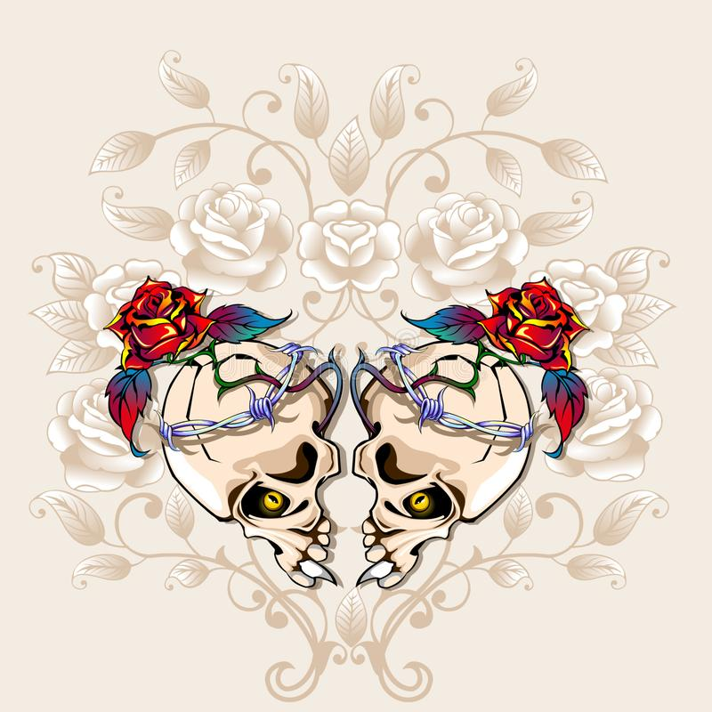 Coeur de crânes illustration stock