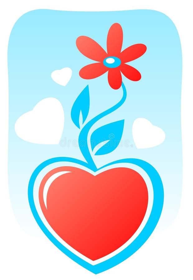 Coeur de dessin animé avec la fleur illustration libre de droits