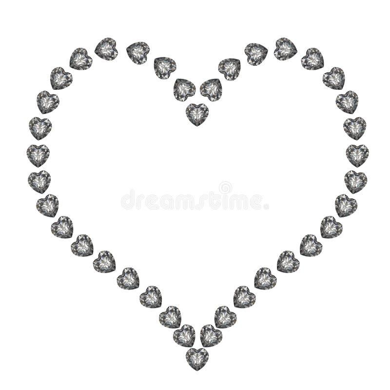 Coeur de diamant d'isolement sur le fond blanc illustration de vecteur