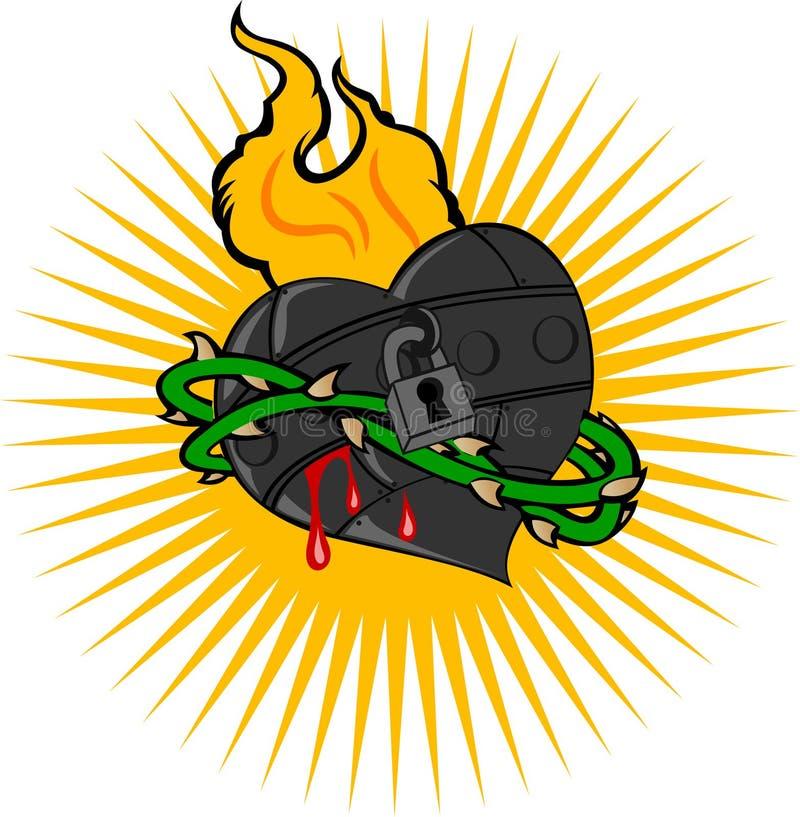 Coeur de fer d'incendie illustration de vecteur