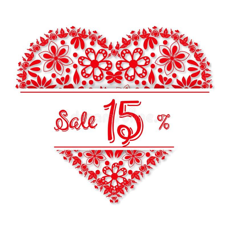 Coeur de filigrane de Saint-Valentin, 15 pour cent de discoun illustration de vecteur