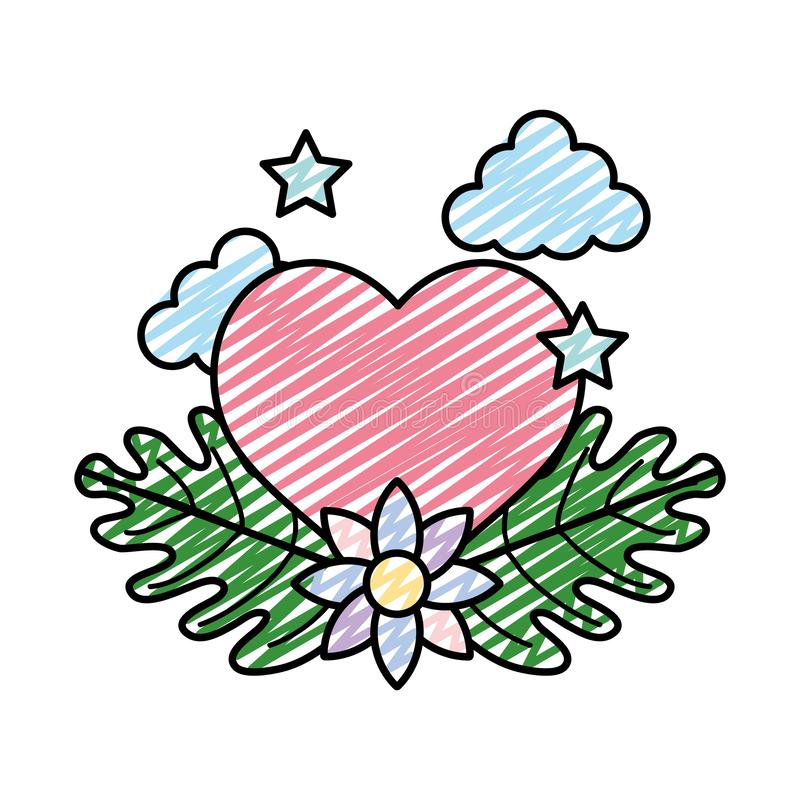 Coeur de griffonnage avec des étoiles et des feuilles de fleur d'écologie illustration stock