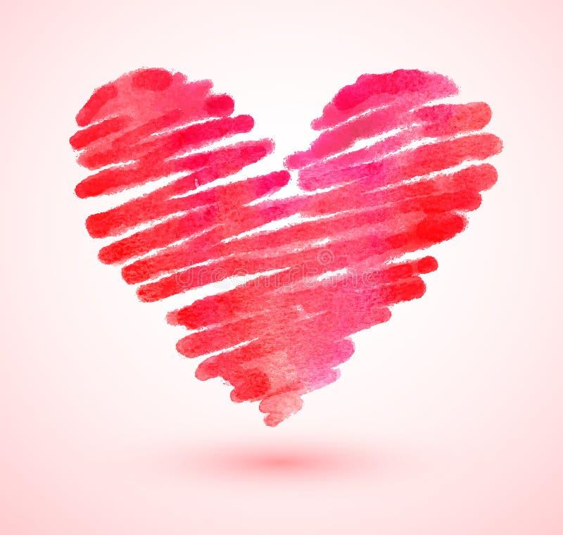 Coeur de griffonnage d'aquarelle illustration stock