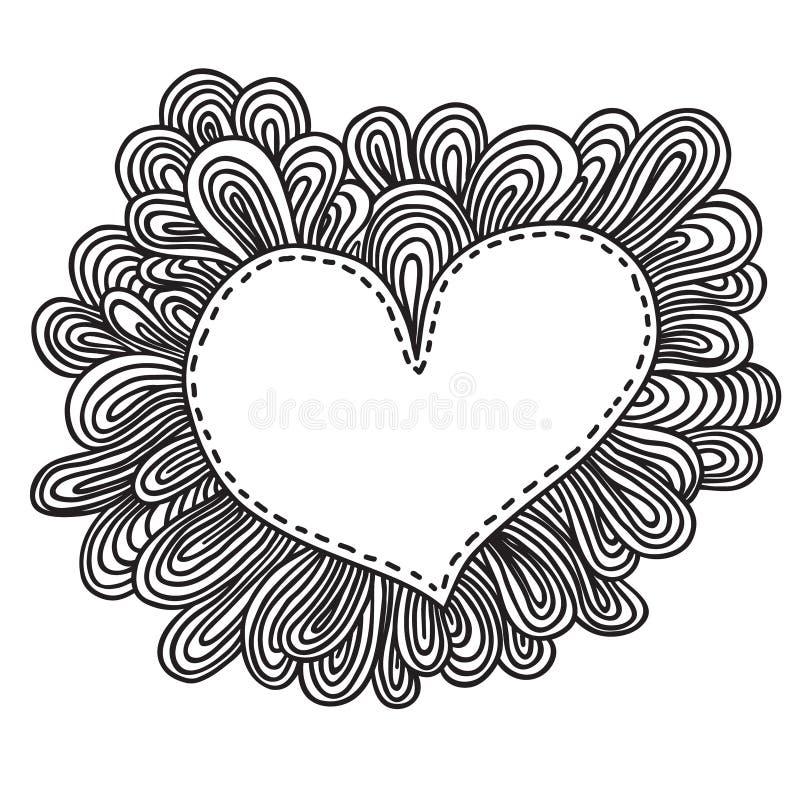 Coeur de griffonnage. Illustration de vecteur de jour de valentines illustration libre de droits