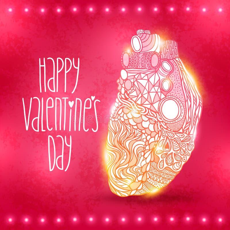 Coeur de griffonnage. Illustration de vecteur de jour de valentines illustration stock