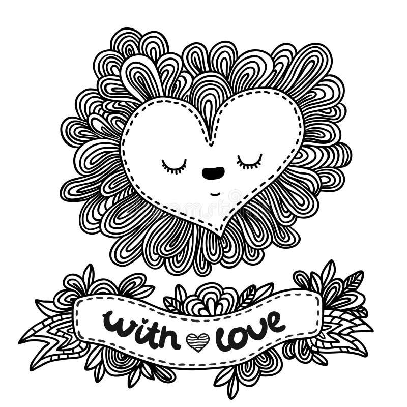 Coeur de griffonnage pour la Saint-Valentin illustration libre de droits