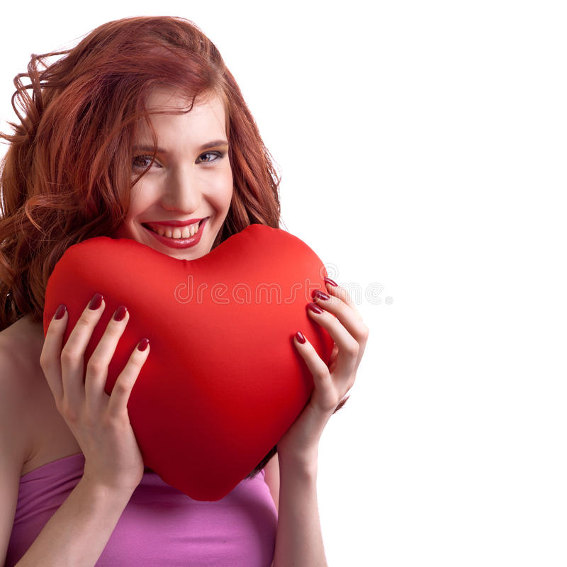Coeur de jour de Valentines de fixation de femme images libres de droits