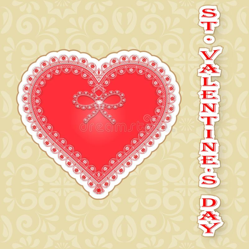 Coeur de jour du ` s de Valentine de carte de voeux décoré de la dentelle illustration libre de droits