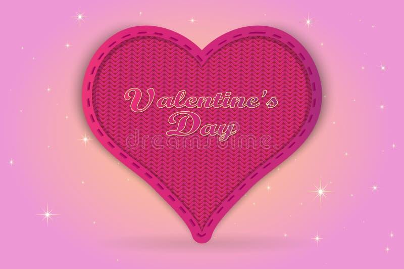 Coeur de jour du ` s de Valentine pour un cadeau positionnement de vacances de cartes illustration stock