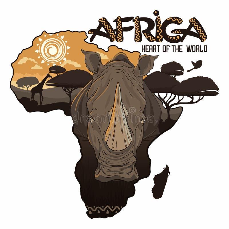 Coeur de l'Afrique du monde illustration libre de droits