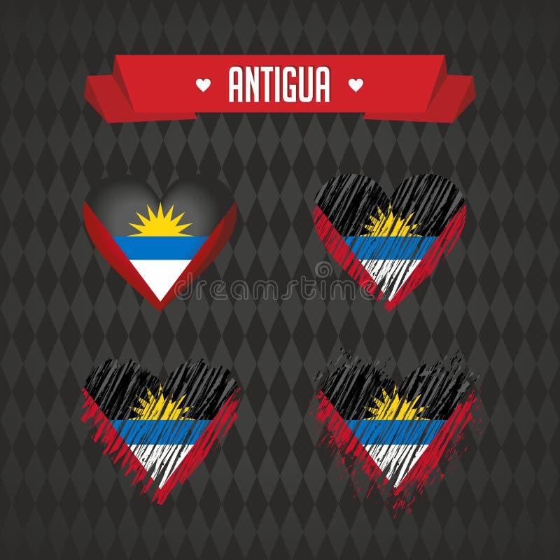 Coeur de l'Antigua avec le drapeau à l'intérieur Symboles graphiques grunges de vecteur illustration de vecteur