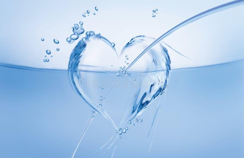 Coeur de l'eau dans l'onde photos libres de droits