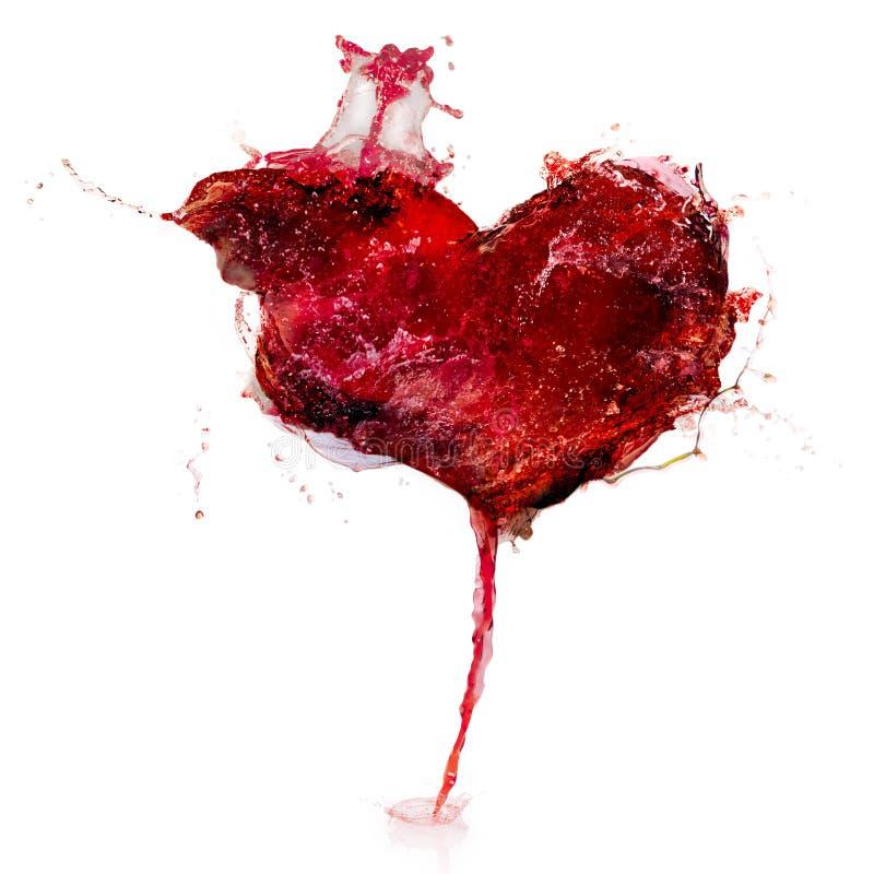 Coeur de l'eau rouge d'isolement sur le blanc photo stock