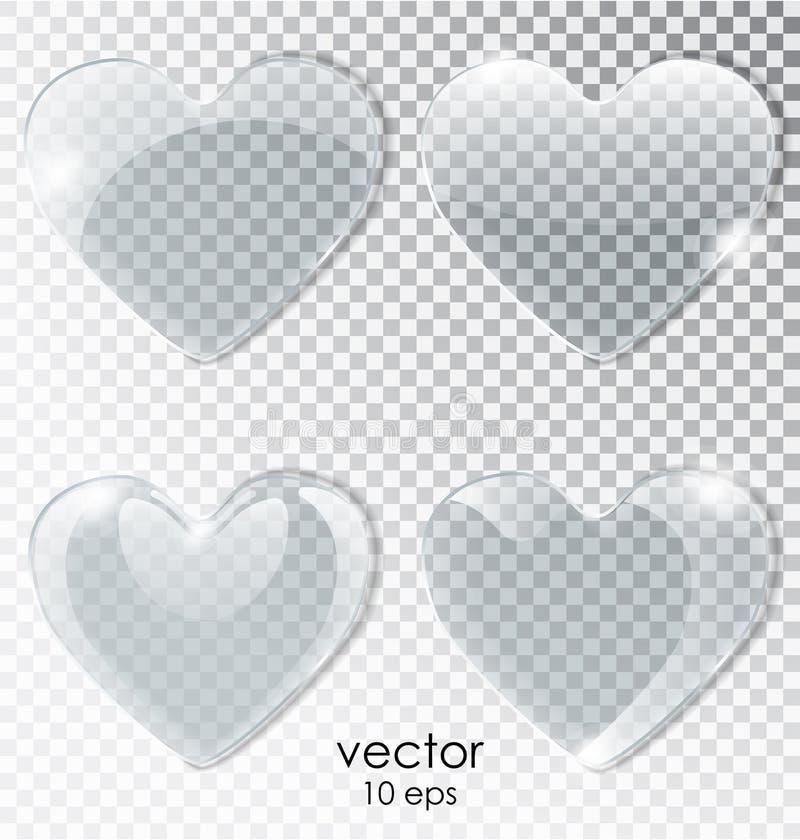 Coeur de la glace avec un fond transparent Coeur plat réaliste avec des points culminants objet d'isolement de vecteur illustration de vecteur