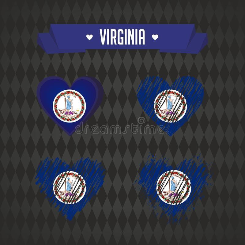 Coeur de la Virginie avec le drapeau à l'intérieur Symboles graphiques grunges de vecteur illustration stock