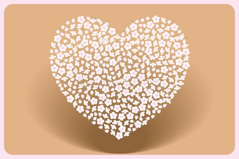 coeur de Mère-jour fait par des fleurs de cerisier sur le sillage illustration stock