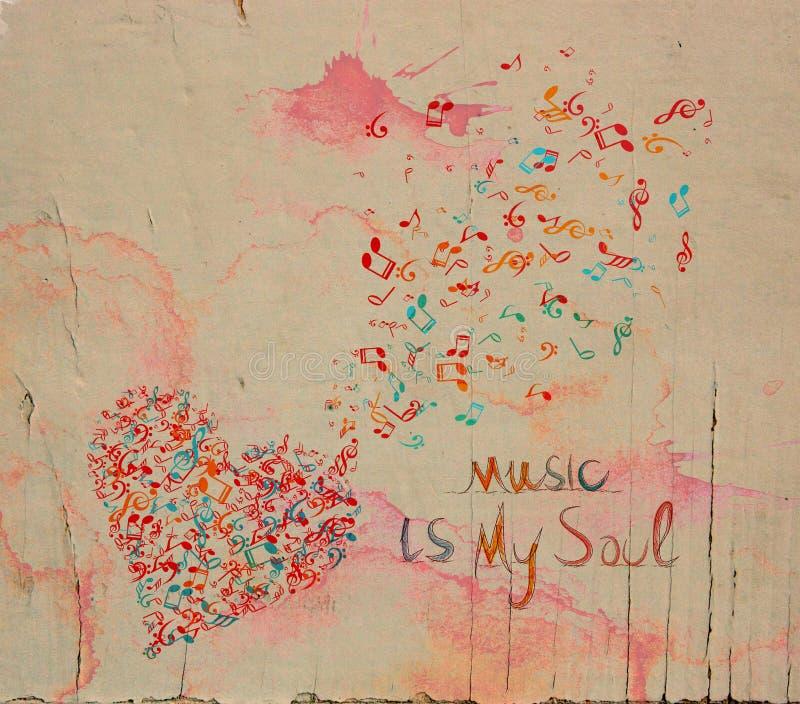 Coeur de musique d'aquarelle illustration stock
