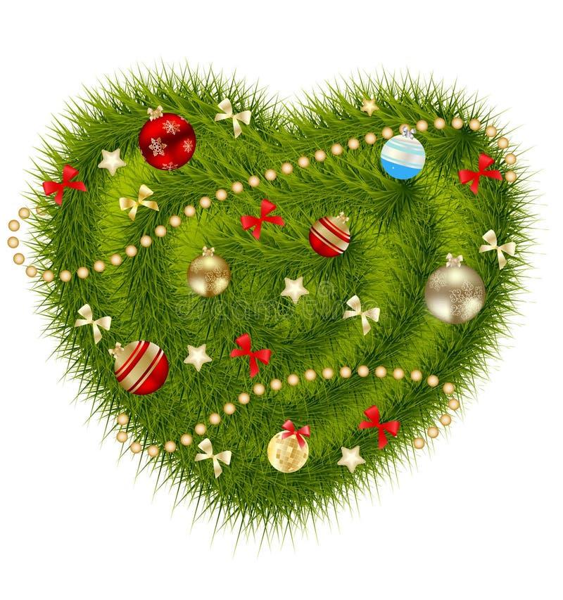 Coeur de Noël abstrait de beauté et d'an neuf. illustration libre de droits