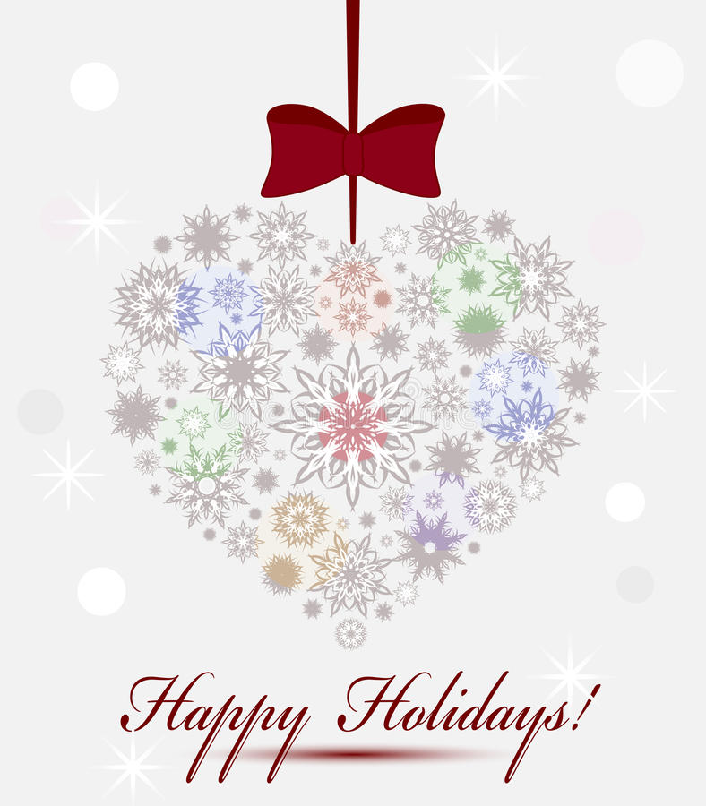 Coeur de Noël effectué avec des flocons de neige. illustration libre de droits