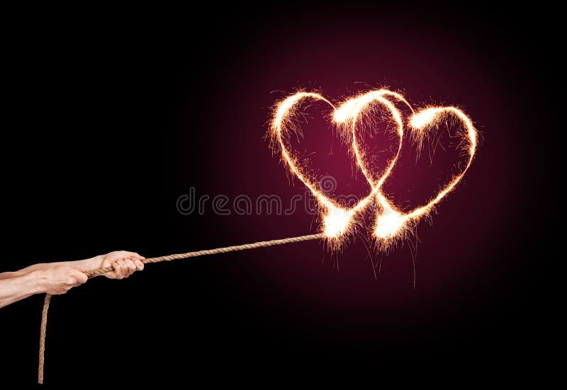 Coeur de pétillement d'amour photo libre de droits