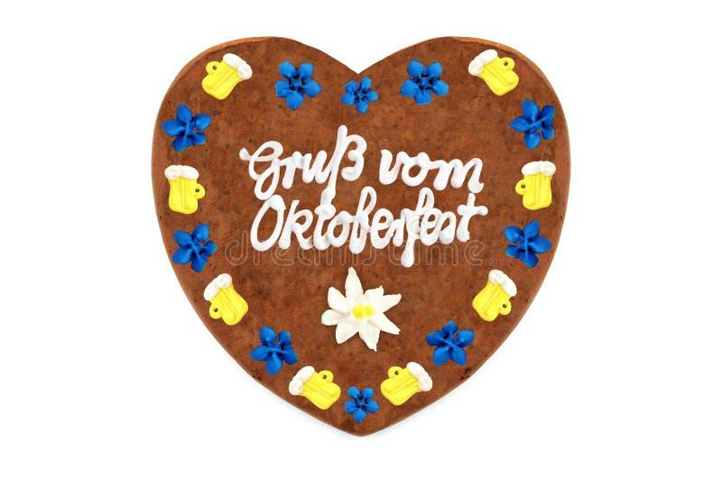 Coeur 2018 de pain d'épice d'Oktoberfest avec le blanc backgrou d'isolement photo stock