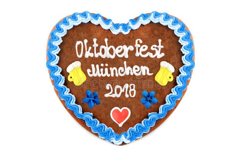 Coeur 2018 de pain d'épice d'Oktoberfest Muenchen Angleterre Festi d'octobre photo stock