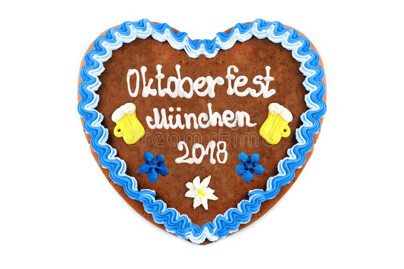 Coeur 2018 de pain d'épice d'Oktoberfest Munich au blanc d'isolement de retour photos libres de droits