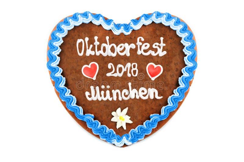 Coeur 2018 de pain d'épice d'Oktoberfest Munich au blanc d'isolement de retour images stock