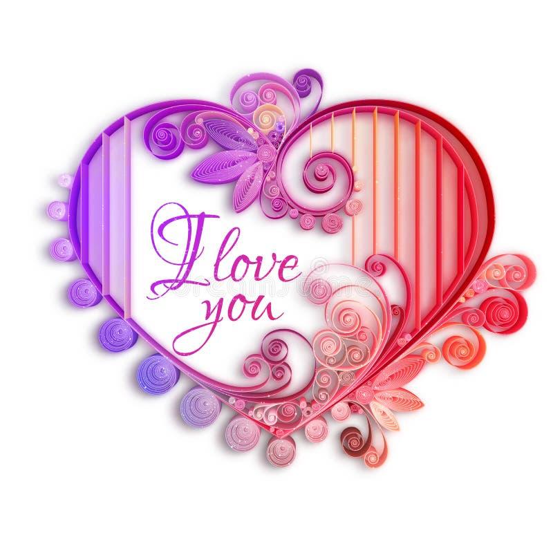Coeur de papier de Quilling Jour de Valentine heureux Illustration de vecteur illustration libre de droits