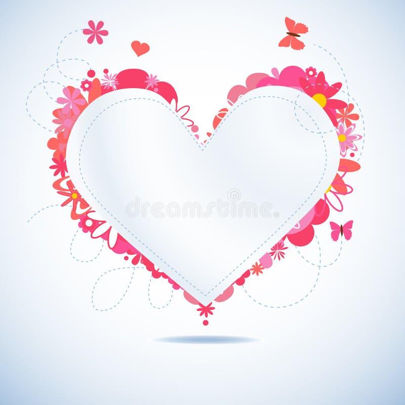 Coeur de papier floral illustration de vecteur