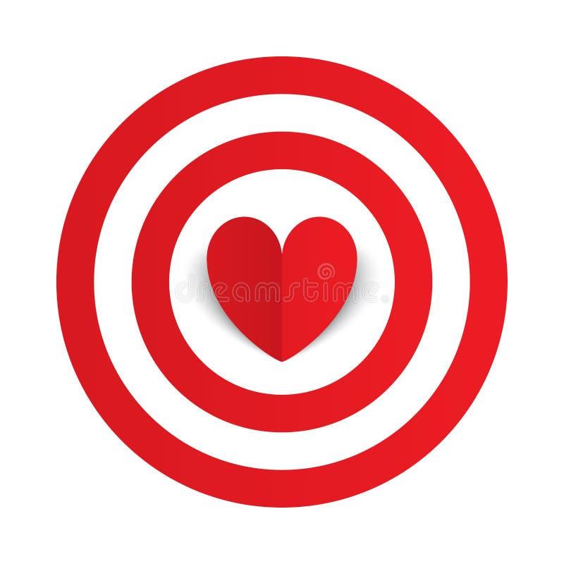 Coeur de papier rouge au centre du but de cible de dards illustration stock