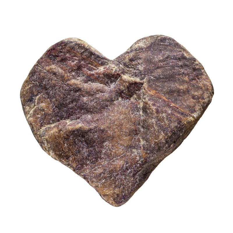 Coeur de pierre D'isolement sur le fond blanc photos libres de droits