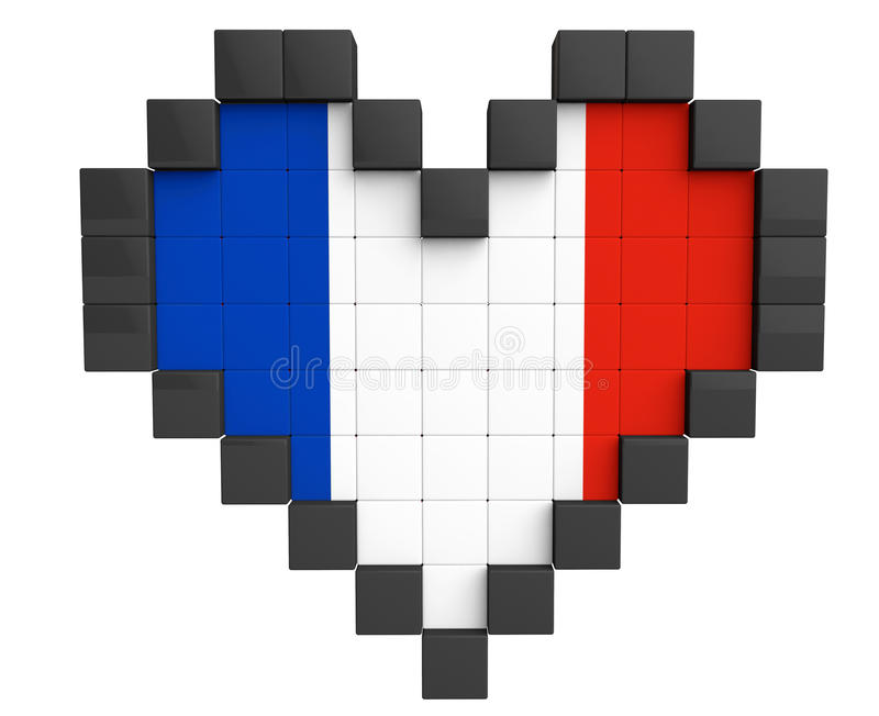 Coeur De Pixel Comme Drapeau De Frances Illustration Stock