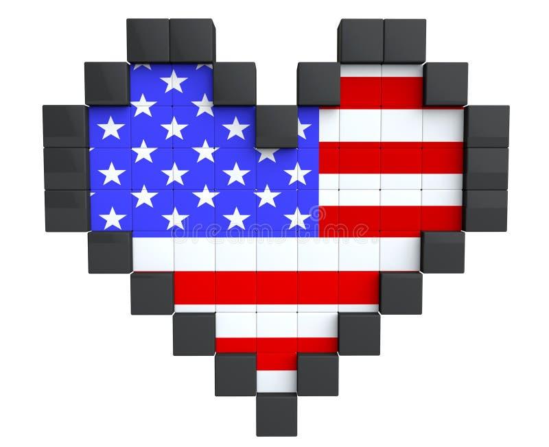 Coeur De Pixel Comme Drapeau De Lallemagne Illustration