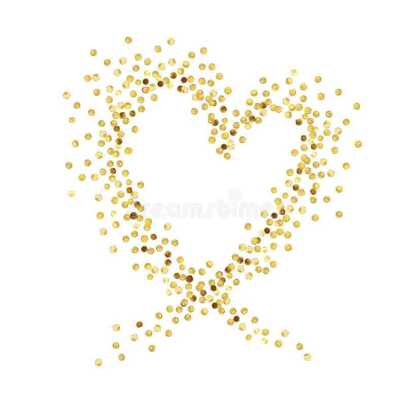 Coeur de point d'or illustration stock